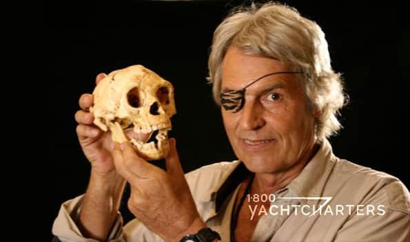 Man holding human skull