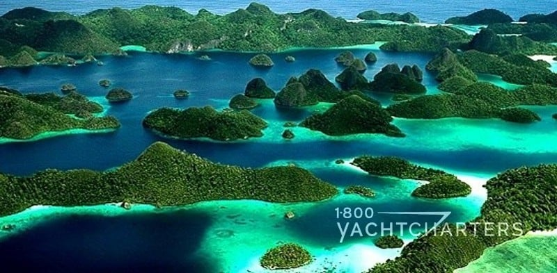 Aerial view of islands in Indonesia