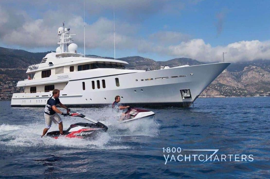 motoryacht HANIKON jetski and waverunner in use beside the anchored yacht