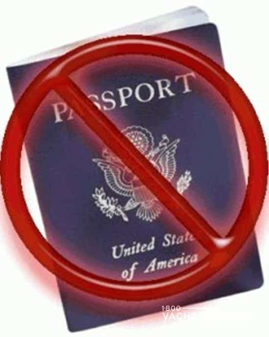 US passport with a red NO symbol and slash through it