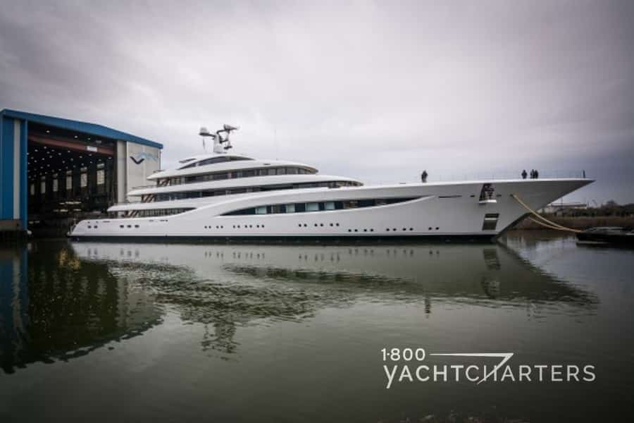 VERTIGO coming out of Luerssen superyacht build hangar