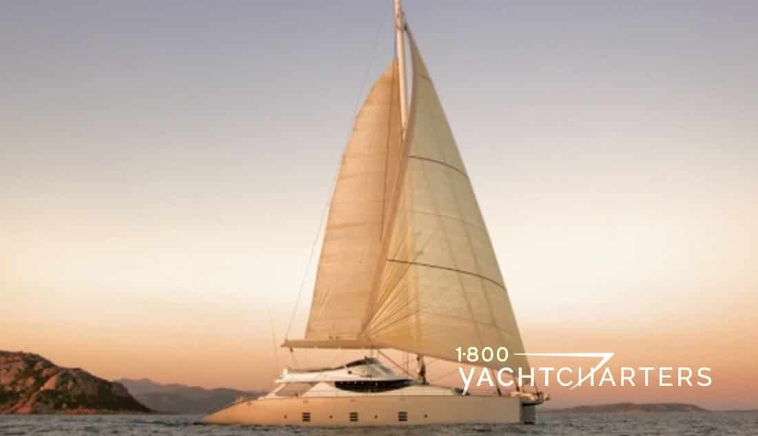 HUTIANE catamaran charteryacht profile at anchor