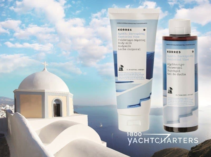 Korres shower gel and body milk superimposed over image of Santorini in Greece