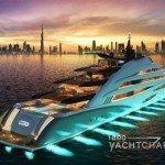 AMARA yacht with night lights on