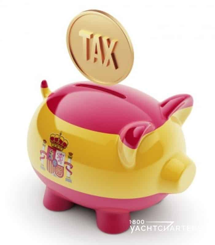 Piggybank painted in yellow and red with spanish flag on the side and a gold coin that says TAX dropping into the slot