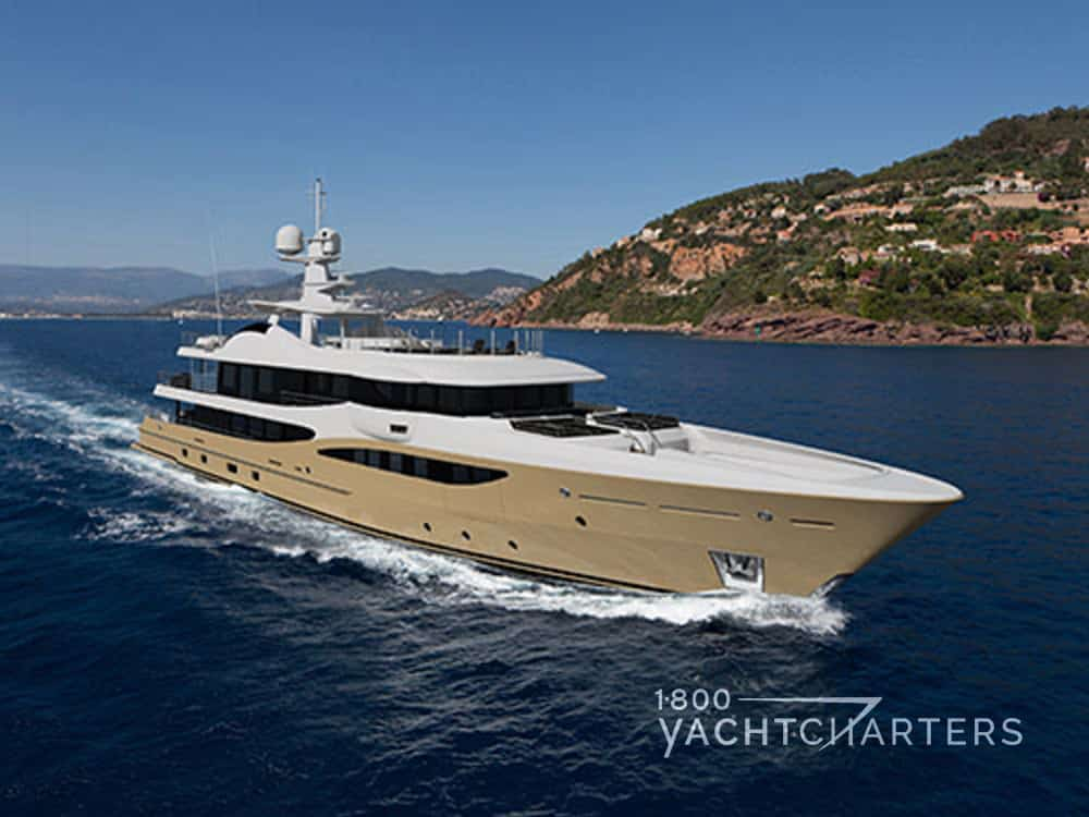 LILI superyacht with beige hull and white superstructure underway
