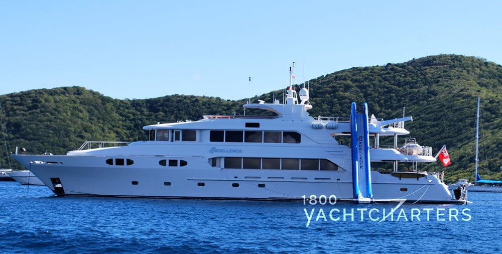 EXCELLENCE yacht profile with inflatable slide employed off of top deck