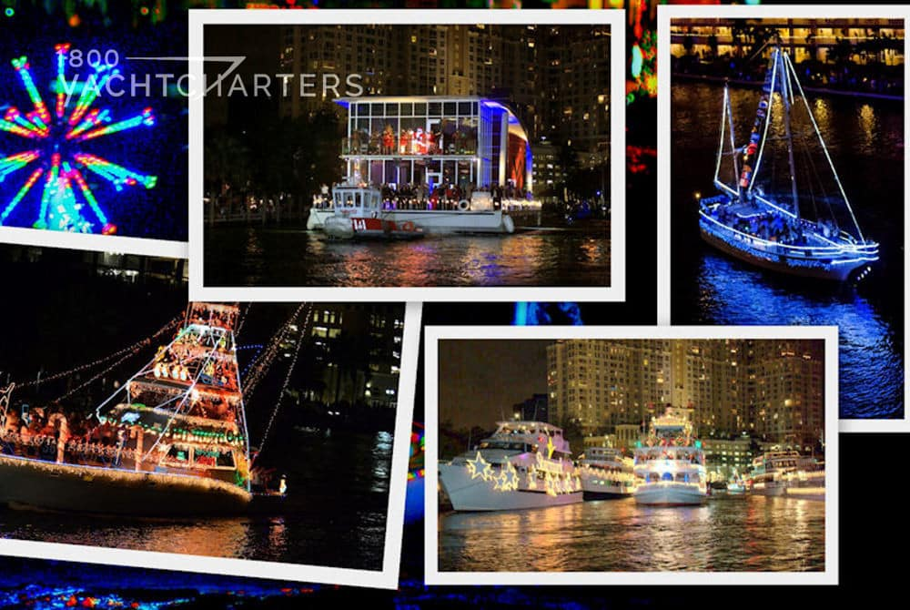 Collage of photos of yachts decorated with holiday lights