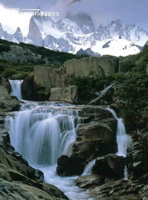 Waterfalls running through mountains in Patagonia South America