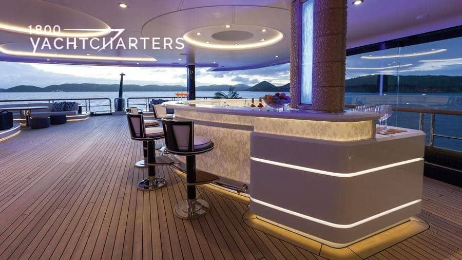 Oversized wet bar on a yacht deck