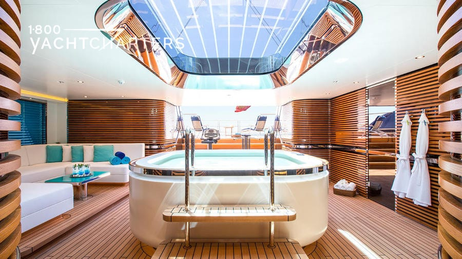 Spa pool in beach club of a luxury sailboat