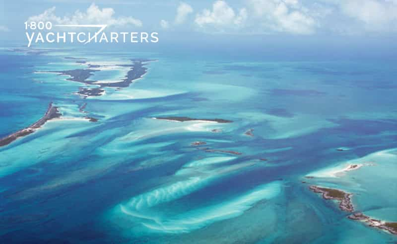 aerial photo of the islands of the bahamas