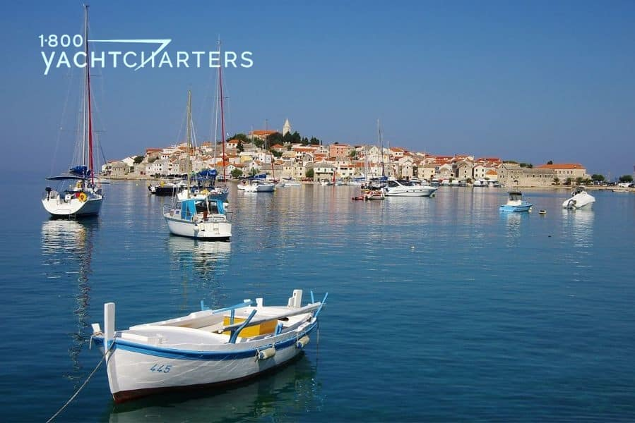 Photo of harbor full of anchored sailboat hulls