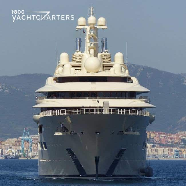 Bow photograph of motoryacht DILBAR. She is facing the front of the photo. She is coming at us.