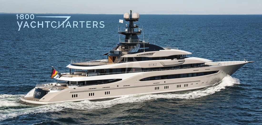 Superyacht KISMET profile - running - facing the right side of the photo