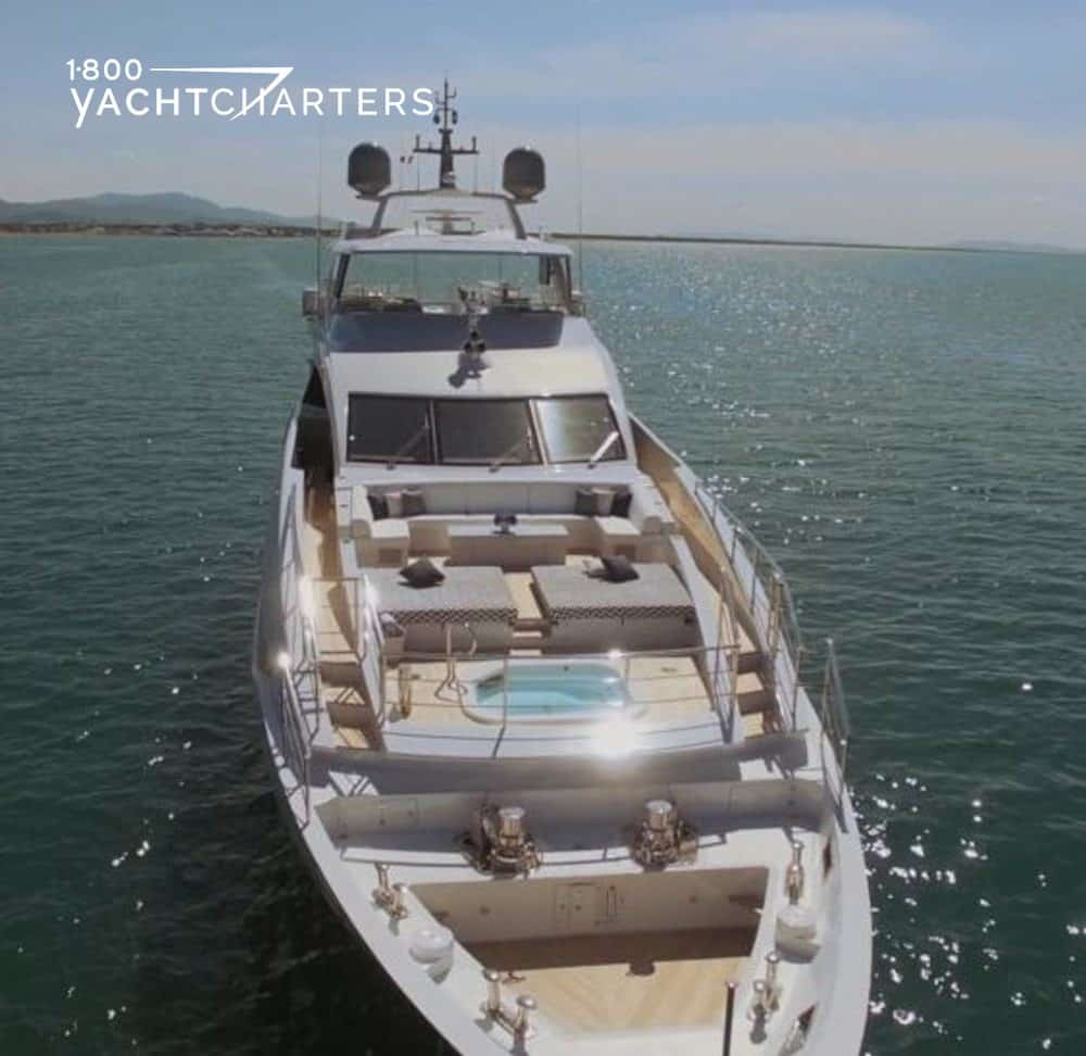 motoryacht H benetti aerial view showing jacuzzi on top deck of yacht