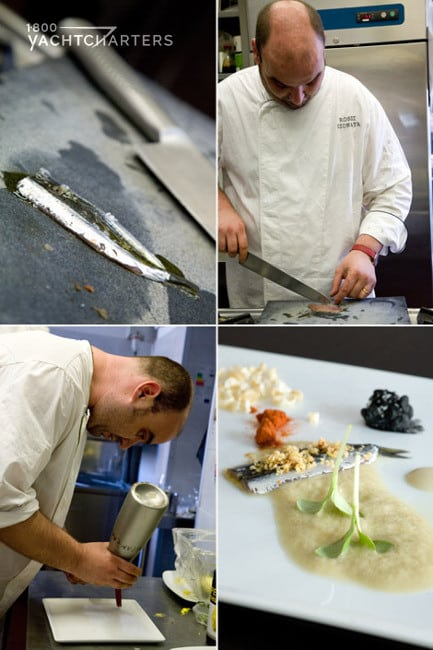 Collage of photographs of Chef Gionata Rossi. Top left photo is a knife on a stainless steel table. The photo at top right is chef Rossi cutting something. The bottom left photograph is Chef Gionata Rossi leaning forward. Bottom right side photo is a white cutting board with sliced vegetables on it and a squiggly pile of creamy beige paste.