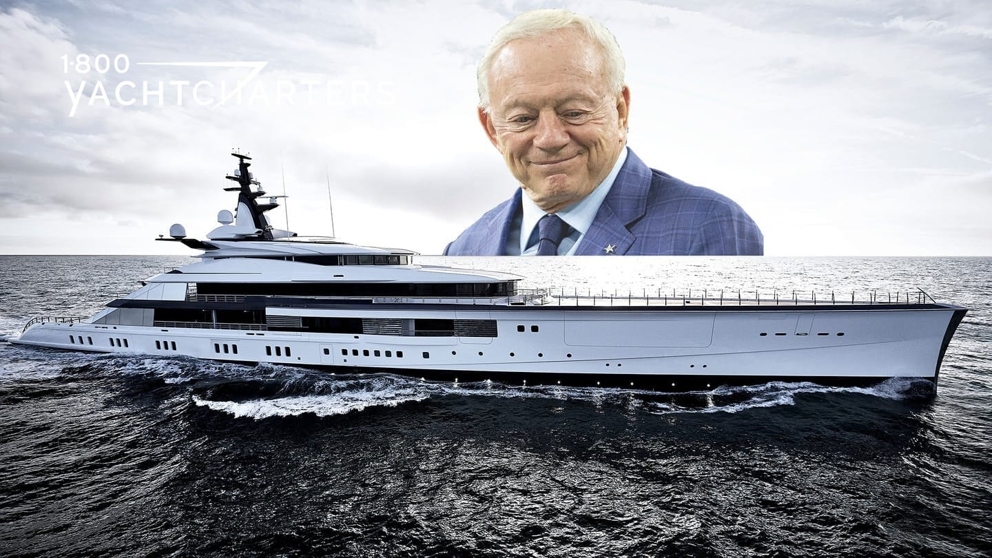 Photograph of a white yacht. It is facing the right side of the photograph. There is a large headshot photo of the yacht owner superimposed over the top portion of the photo and resting on the yacht